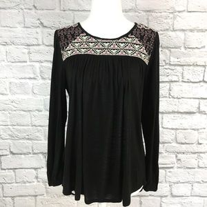 Lucky Brand Black Long Sleeve Embroidered Shirt